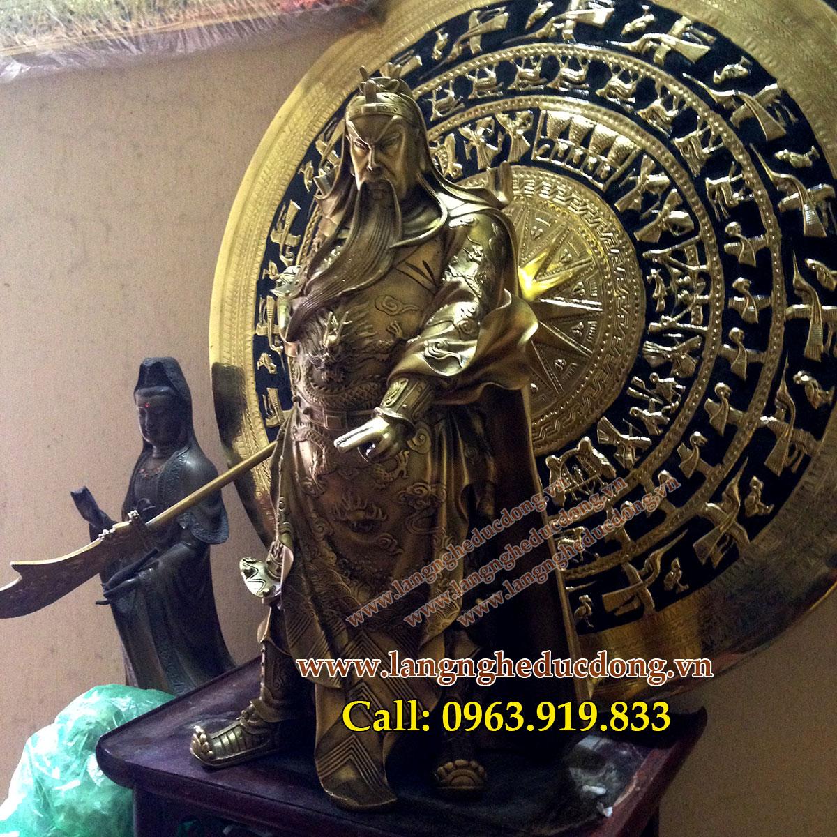 langngheducdong.vn - Tượng đồng Quan công cưỡi rồng, Quan vân trường cao 25cm