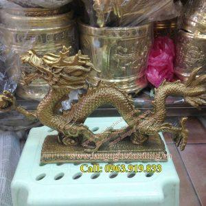 langngheducdong.vn - tượng rồng bằng đồng, cầm ngọc rồng dài 30cm