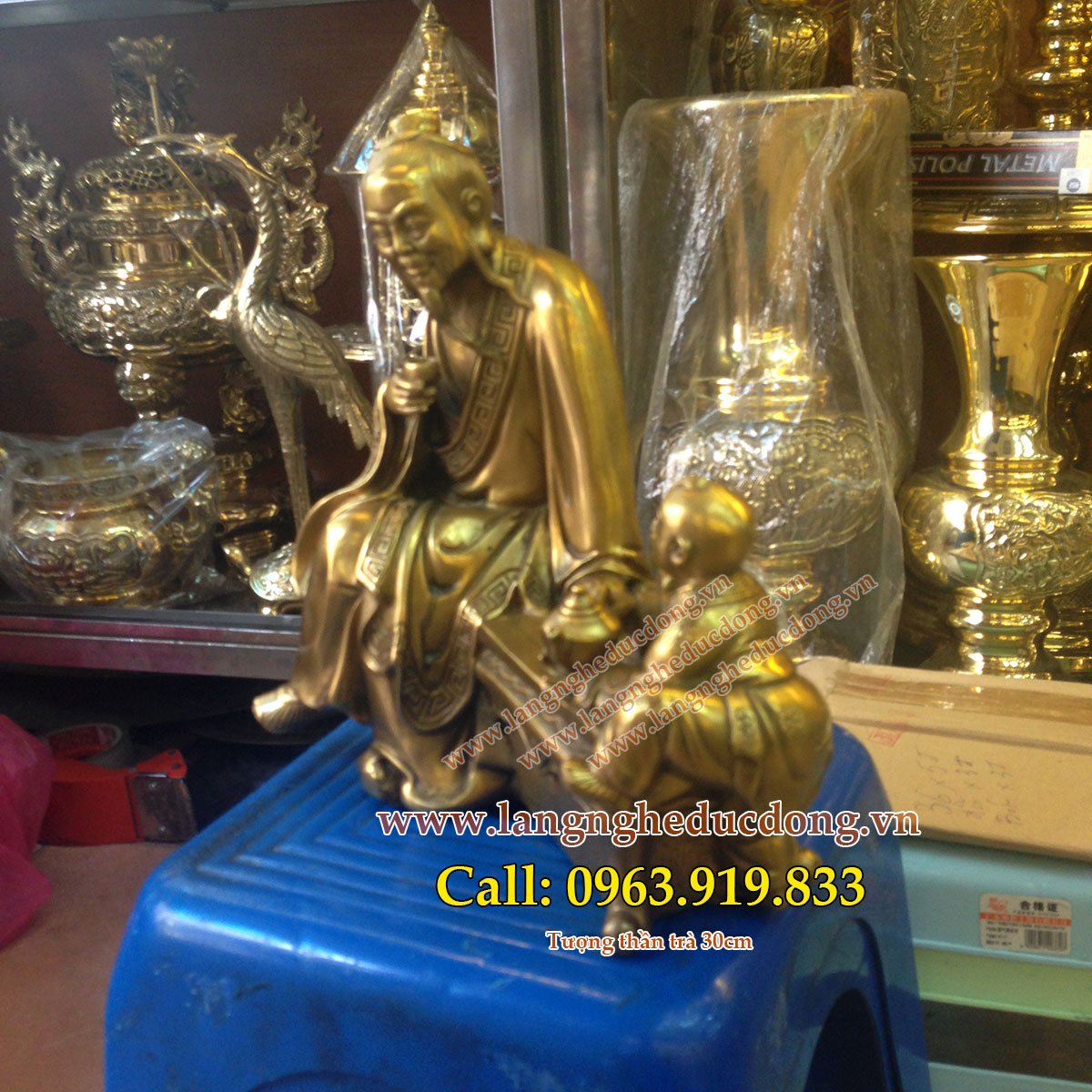langngheducdong.vn - Tượng thần trà, tượng thần trà bằng đồng cao 30cm, tượng đồng