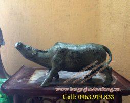 langngheducdong.vn - Tượng trâu đồng giả cổ dài 30cm, tượng trâu bằng đồng