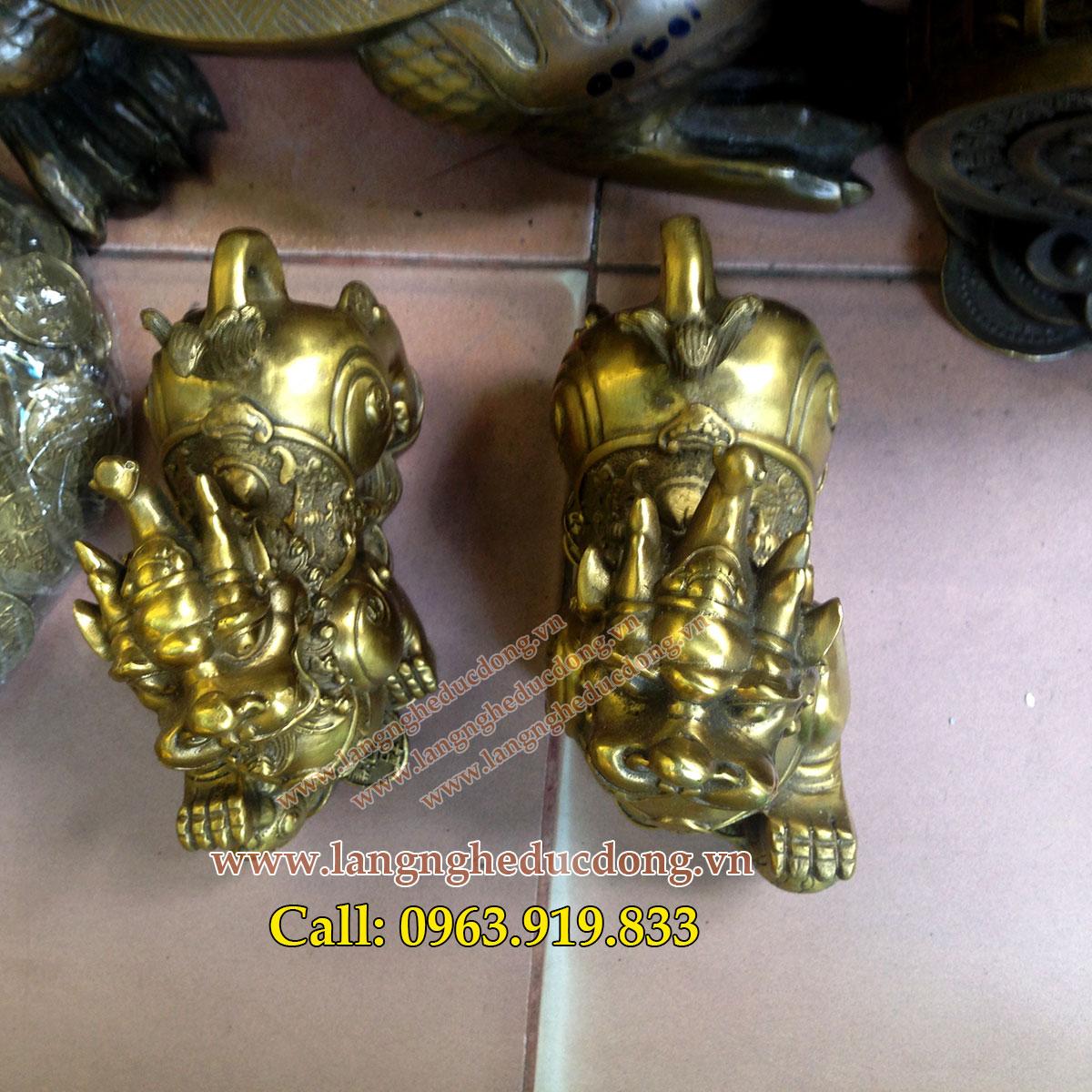 langngheducdong.vn - Tỳ hưu đồng, Cao 13cm, Tỳ hưu phong thủy bằng đồng