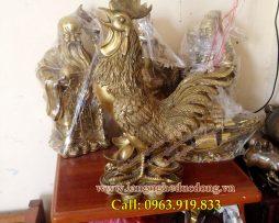 langngheducdong.vn - Tượng gà đồng cao 50cm, gà phong thủy chống lại thói trăng hoa