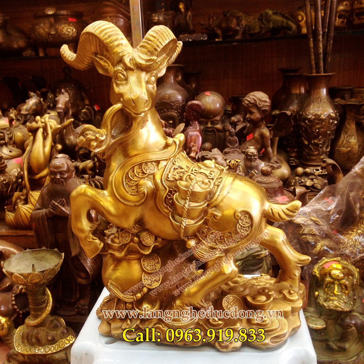langngheducdong.vn - tượng 3 dê đồng phong thủy, tượng dê tam dương cao 20cm