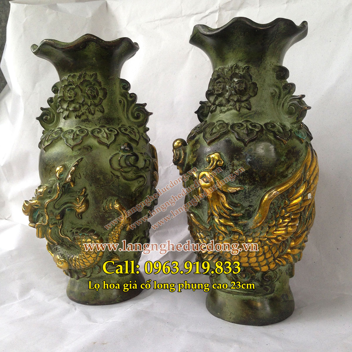 langngheducdong.vn - Lọ hoa đồng, lọ hoa long phụng cao 23cm, lọ hoa giả cổ