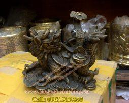 langngheducdong.vn - Rùa đầu rồng cõng như ý, Long Quy phong thủy, rùa bằng đồng