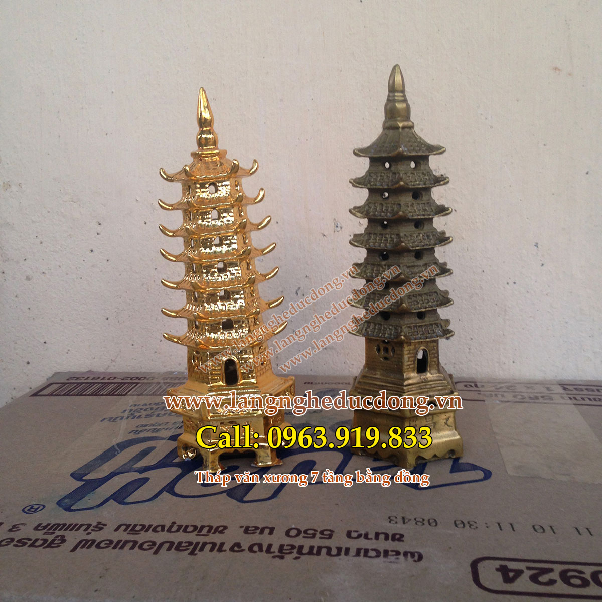 langngheducdong.vn - tháp văn xương bằng đồng, tháp văn xương mạ vàng