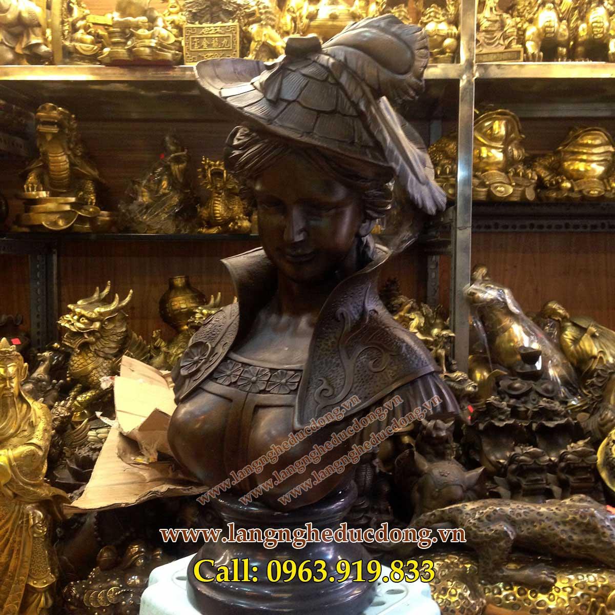 langngheducdong.vn - tượng trang trí bằng đồng, tượng bán thân cô gáilangngheducdong.vn - tượng trang trí bằng đồng, tượng bán thân cô gái