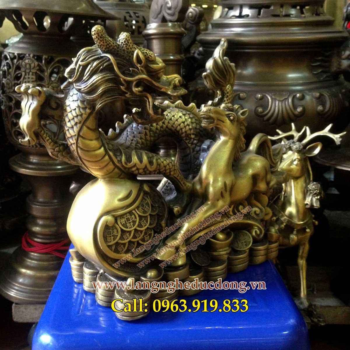 langngheducdong.vn - Cặp tượng rồng ngựa gậy như ý, tượng phong thủy, long mã bằng đồng