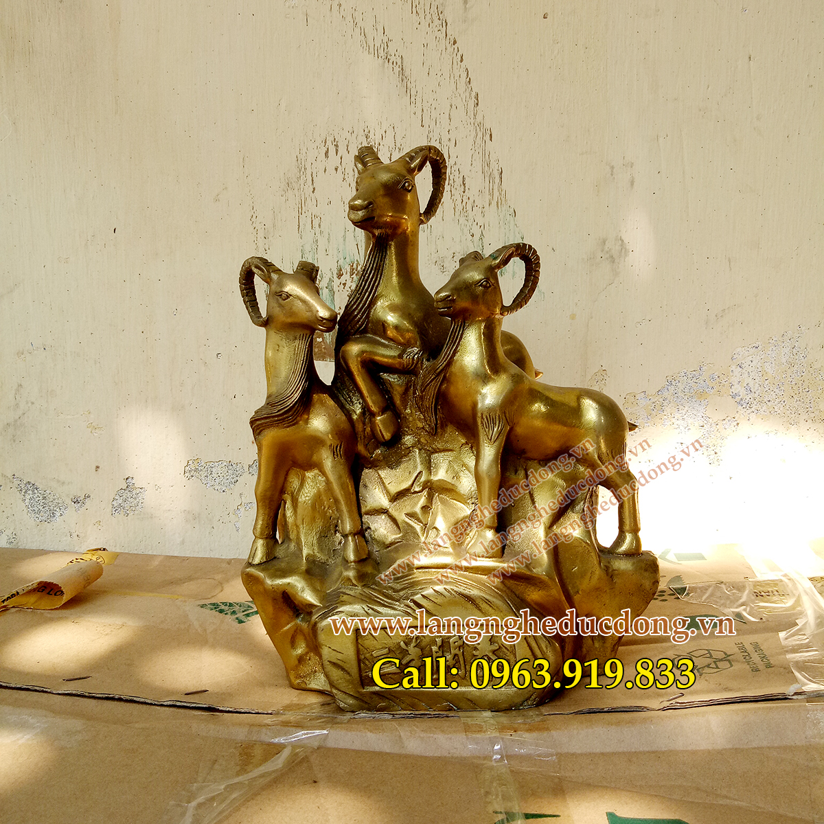 langngheducdong.vn - am dương khai thái, tượng dê đồng, Dê tam dương cao 27cm
