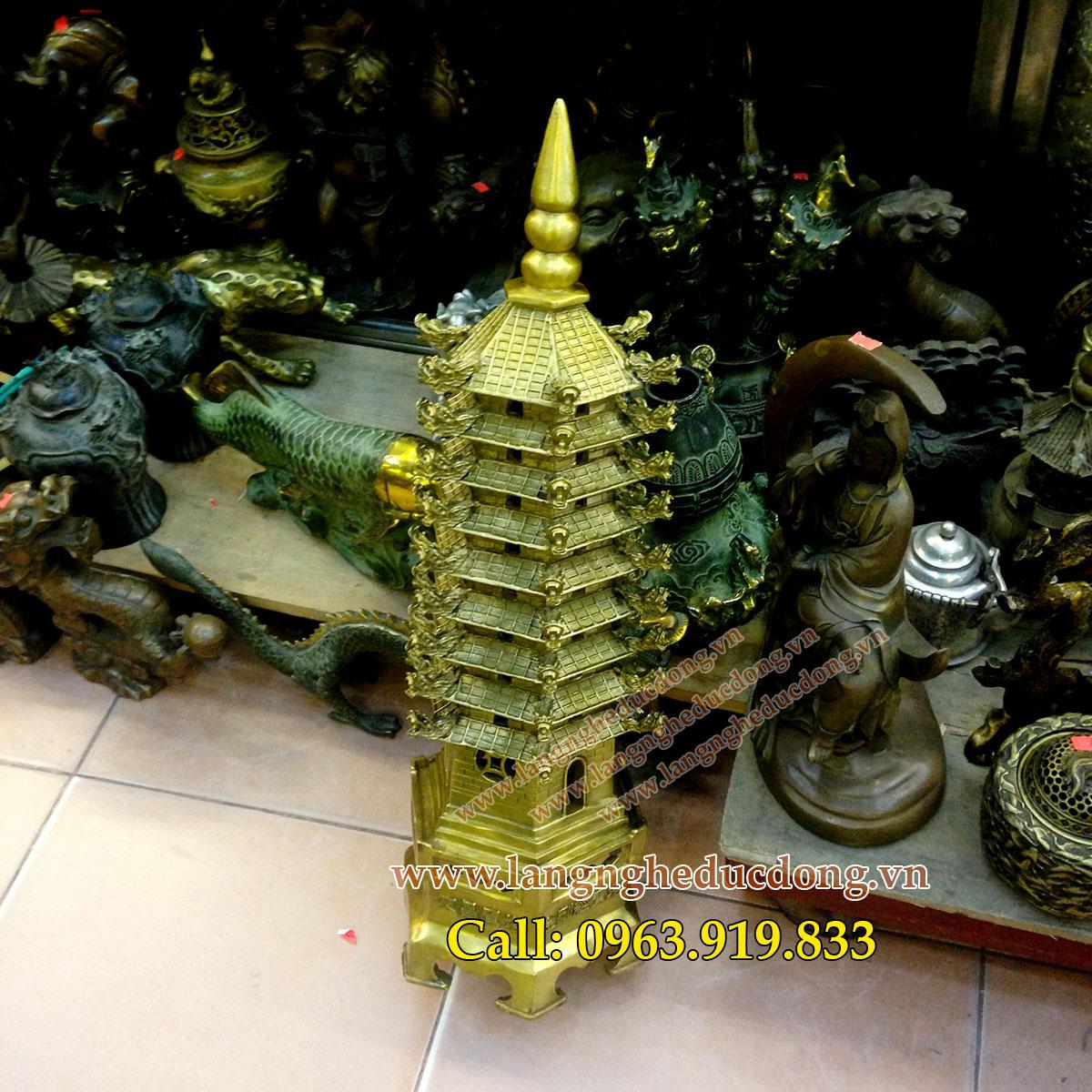 langngheducdong.vn -tháp văn xương bằng đồng phong thủy, Tháp văn xương cao 65cm