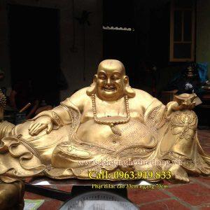langngheducdong.vn - Phật Di Lặc tựa bao bố dâng tiền cao 33cmx70cm
