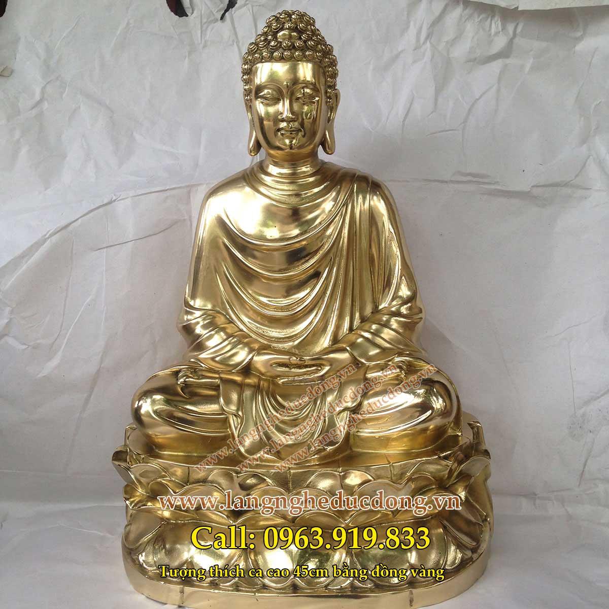 langngheducdong.vn - phật thích ca mâu ni bằng đồng cao 45cm màu vàng sáng