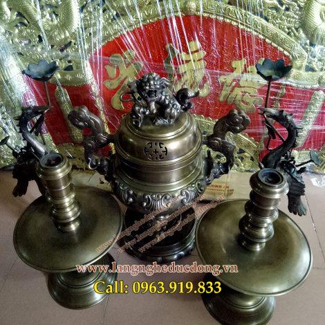 langngheducdong.vn - bộ đỉnh đồng hun gải cỏ màu ánh kim, đỉnh đồng thờ cúng