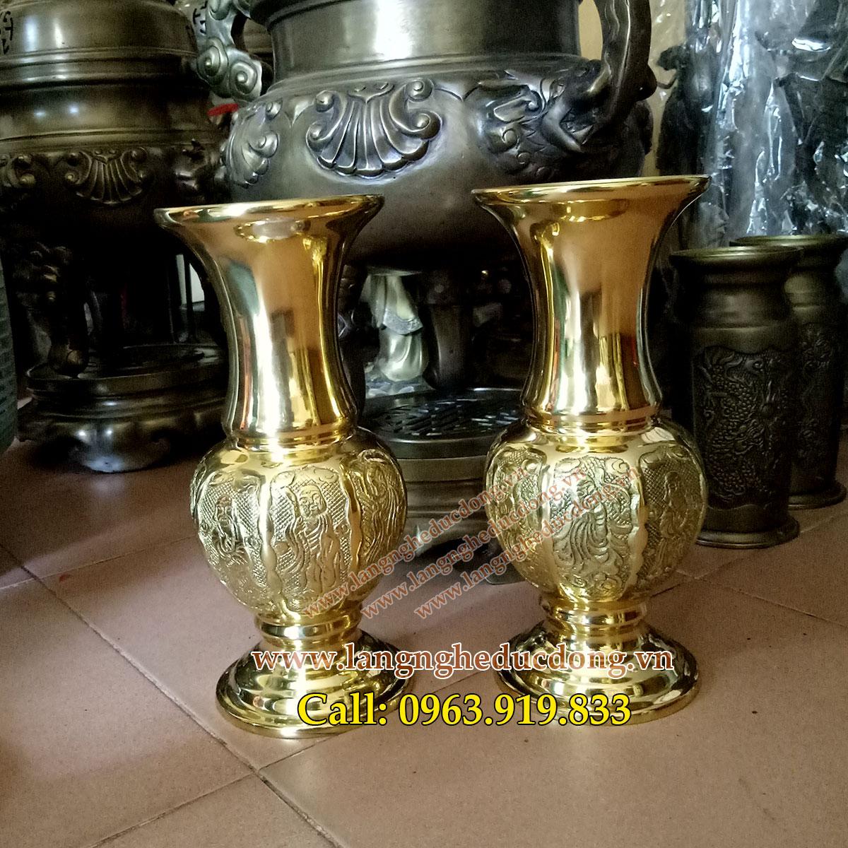 langheducdong.vn - bán lọ hoa bằng đồng, lọ hoa trang trí bàn thờ, lọ hoa bát tiên vàng bóng, mẫu lọ hoa