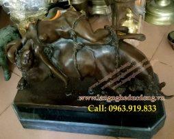 langngheducdong.vn - tượng trang trí bằng đồng hun nâu giả cổ, tượng phục hung