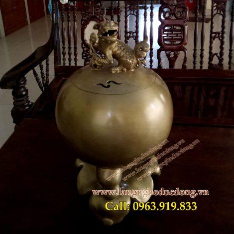 langngheducdong.vn - đỉnh bóng độc nghê, đỉnh chân guột 45cm, đồ đồng trang trí, đỉnh đồng xông trầm