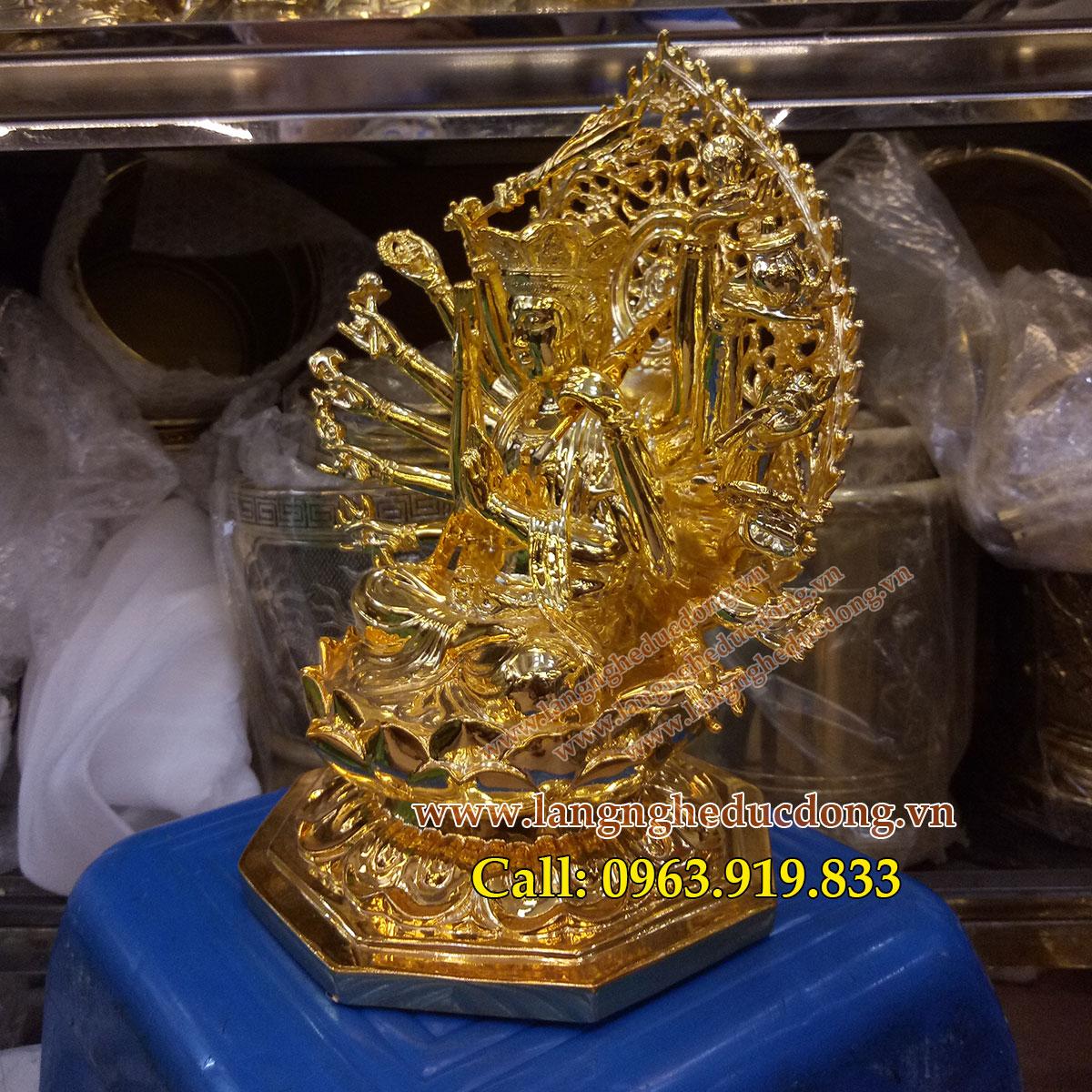 langngheducdong.vn - tượng mẫu phật chuẩn đề cao 25cm mạ vàng nano