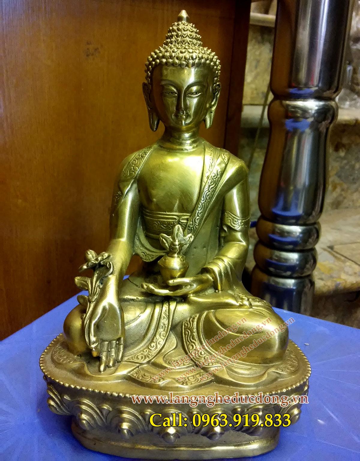 Tượng phật dược sư cao 23cm bằng đồng, tuong phat bang dong