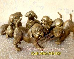 langngheducdong.vn - Tượng chó đồng trang trí, tượng phong thủy, mẫu chó bằng đồng, tượng đồng