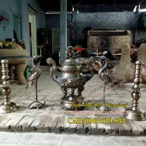 langngheducdong.vn - bộ đồ thờ bằng đồng, đỉnh đồng mẫu rồng song long chầu nguyệt