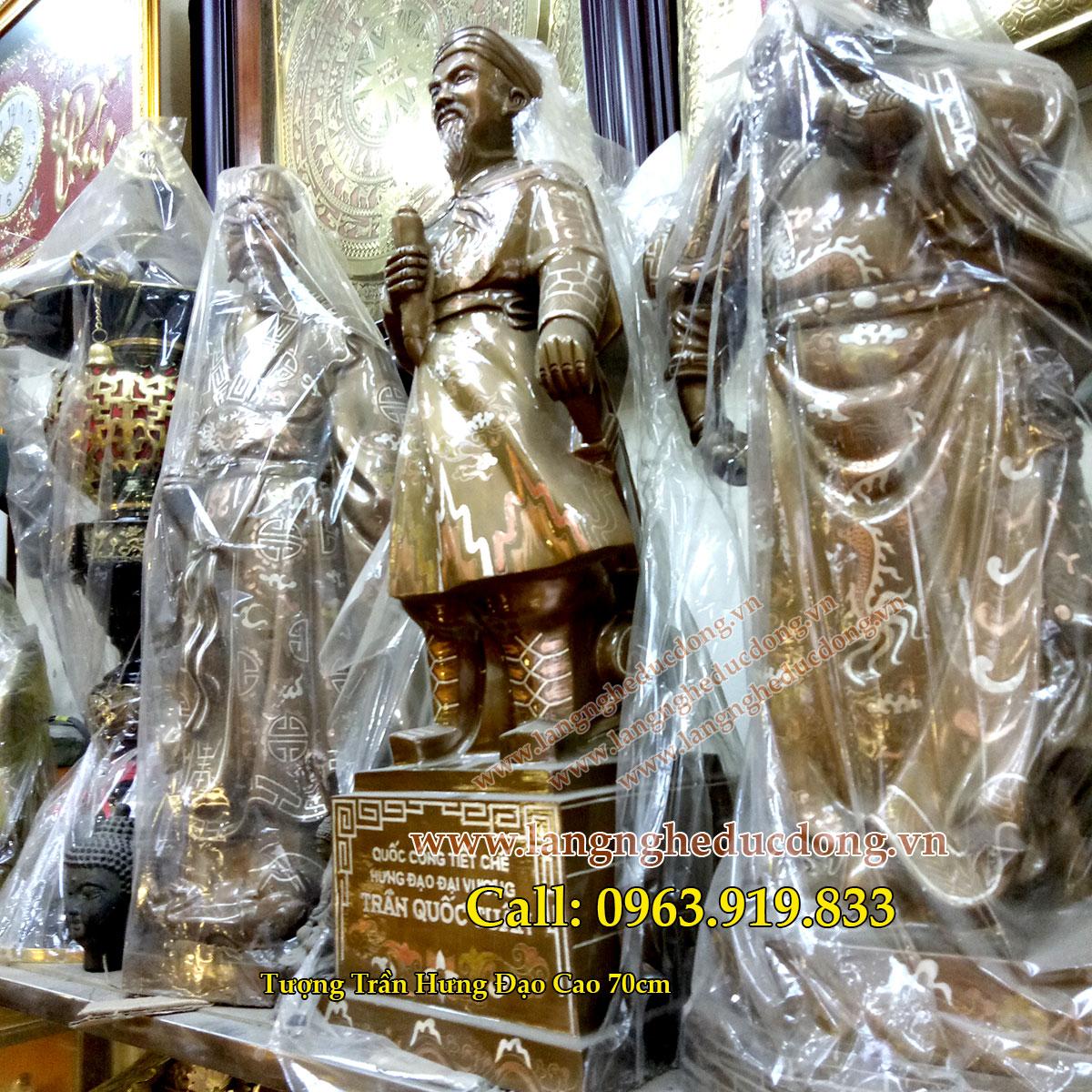 langngheducdong.vn - tượng đồng trần hưng đạo, đức thánh trần khảm bạc, tượng đồng đỏ khảm bạc