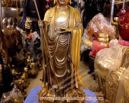 langngheducdong.vn - tượng đồng địa tạng, mẫu địa tạng đứng bằng đồng 40cm