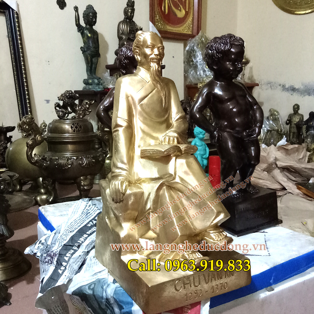 langngheducdong.vn - tượng đồng, tượng chu văn an bằng đồng, đúc tượng chu văn an cỡ nhỏ