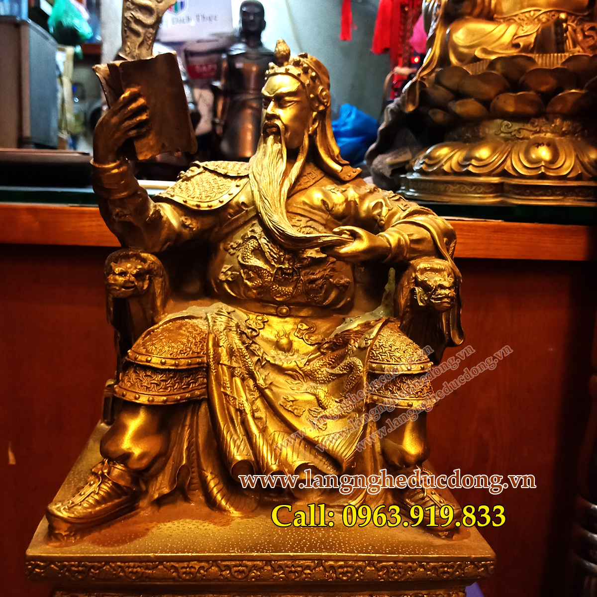 langngheducdong.vn - tượng quan công, tượng phong thủy, quan công đọc sách