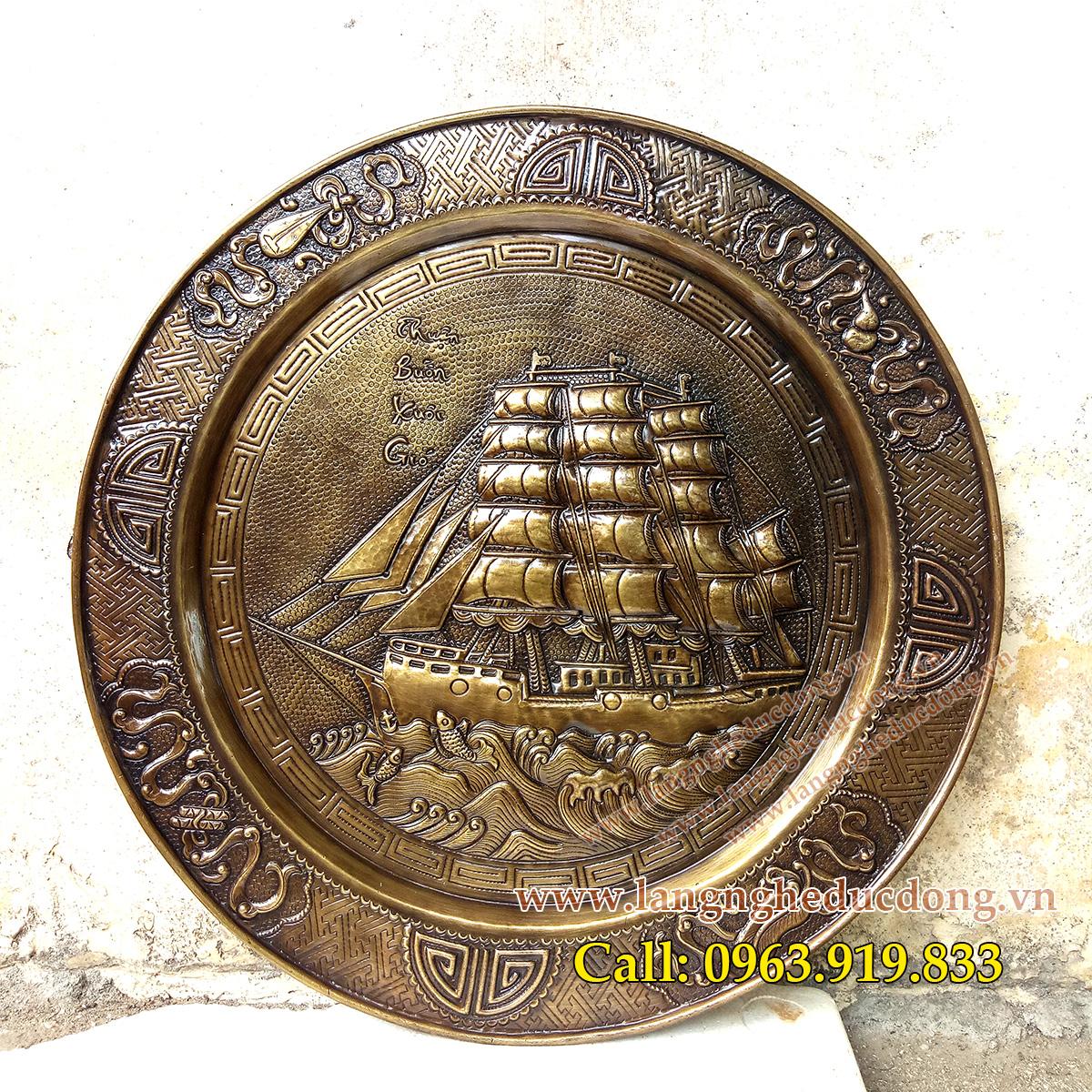 Mâm đồng đk 52cm, mâm thuận buồm xuôi gió bằng đồng