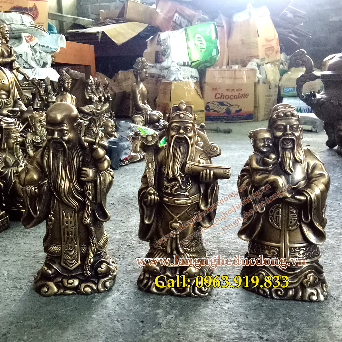 langngheducdong.vn - bộ tượng tam đa bằng đồng vàng cao 23cm