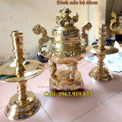 langngheducdong.vn - bộ đỉnh đồng vàng 60cm, bộ tam sự đỉnh nến
