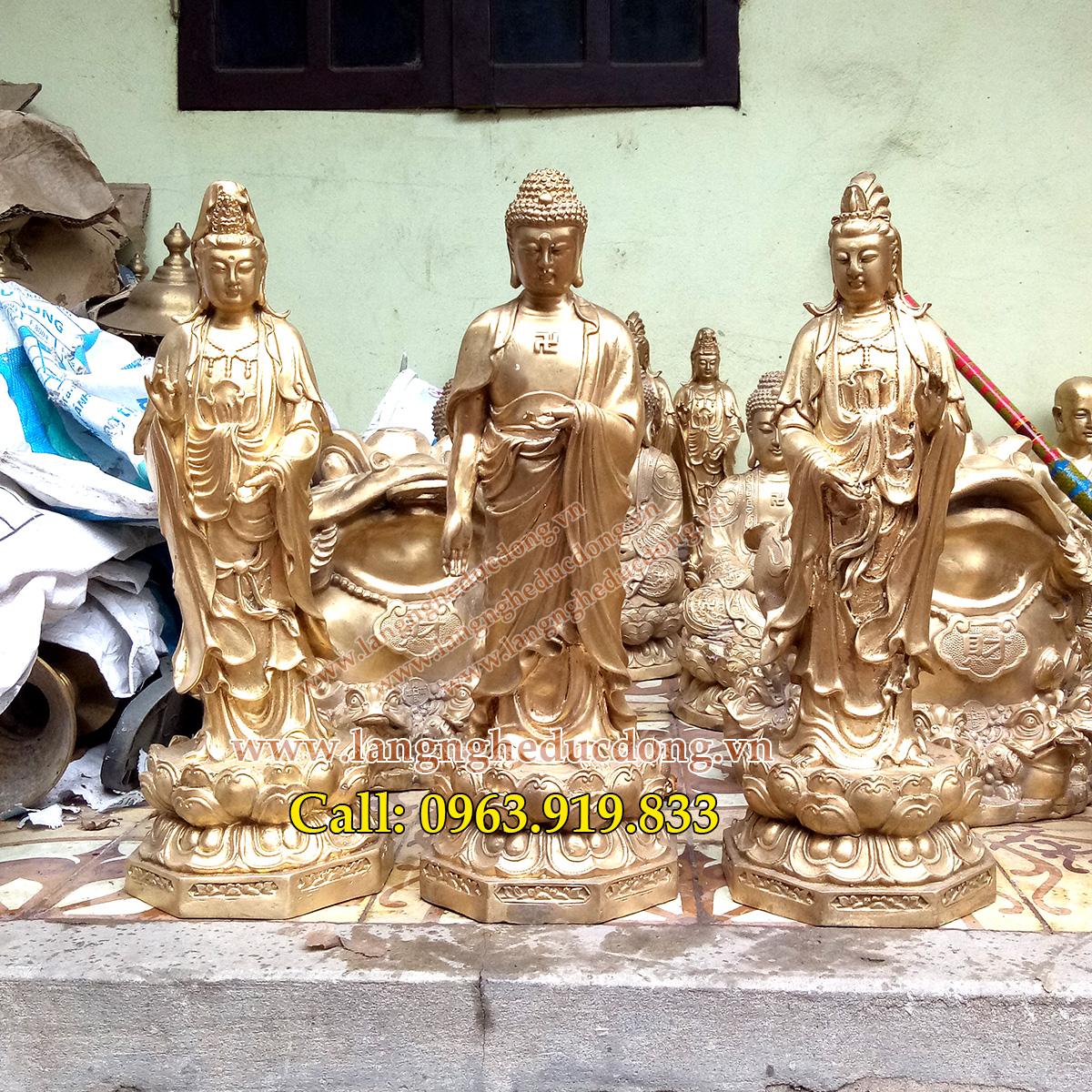 Tượng Tam thánh, Tam thế Phật, tượng phật bằng đồng 50cm