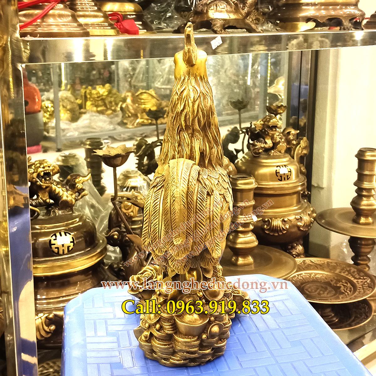Tượng gà đồng 30cm đứng tiền và hoa hồng, tượng gà bằng đồng