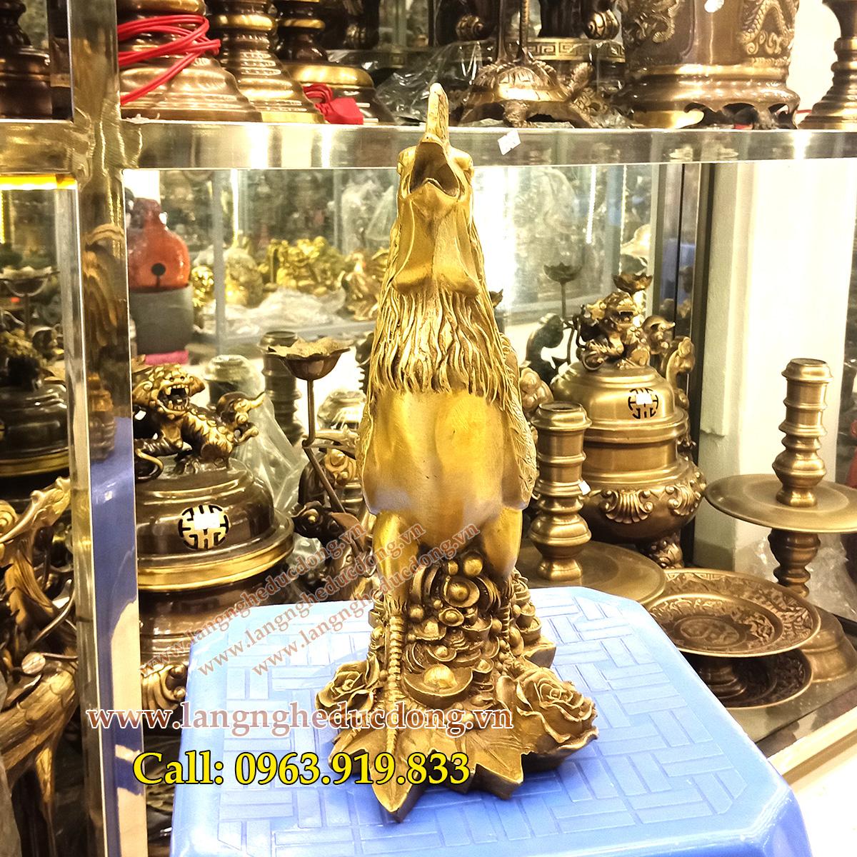 langngheducdong.vn - tượng đồng, đồ phong thủy, gà bằng đồng, gà hoa hồng 30cm