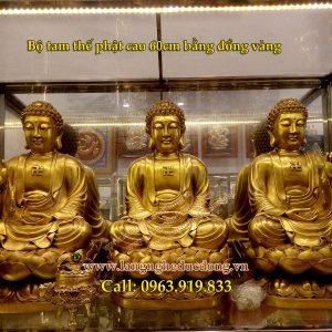 langngheducdong.vn - tượng phật, bộ tượng tam thế phật, tượng phật bằng đồng, tượng phật bằng đồng vàng