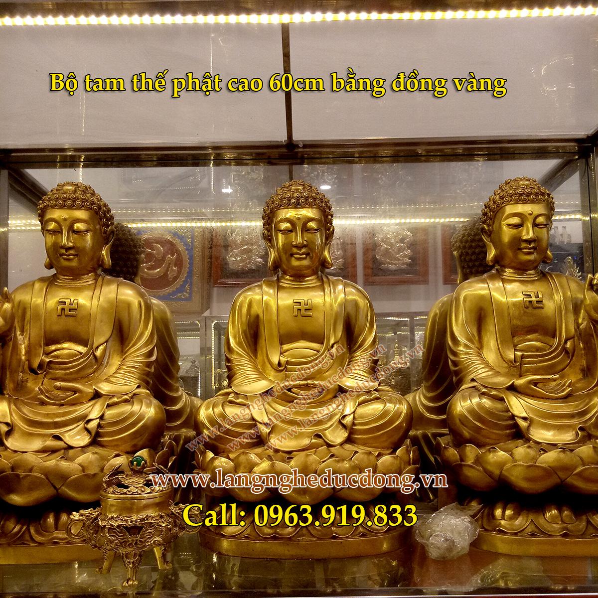 langngheducdong.vn - Tam thế Phật, tượng phật bằng đồng, bộ tam thế phật cao 60cm