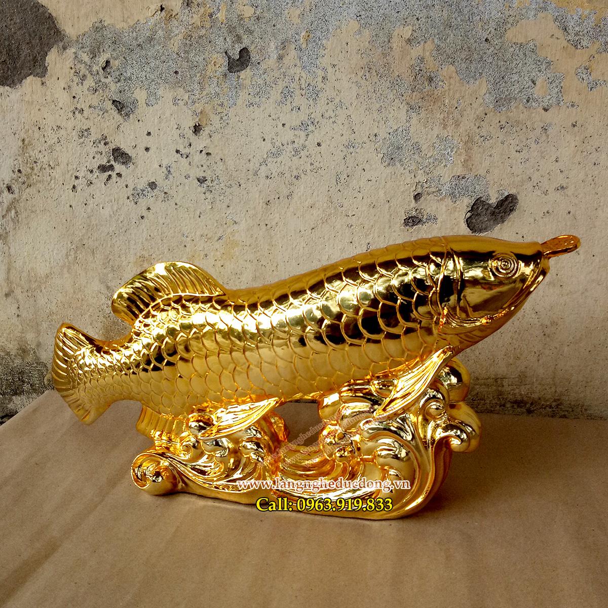 langngheducdong.vn - Cá Rồng Bằng Đồng mạ Vàng, vật phẩm Phong Thủy