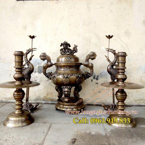 langngheducdong.vn - đồ thờ cúng, đỉnh đồng hun nâu, bộ đỉnh ngũ sự, mẫu đỉnh sòi giả cổ