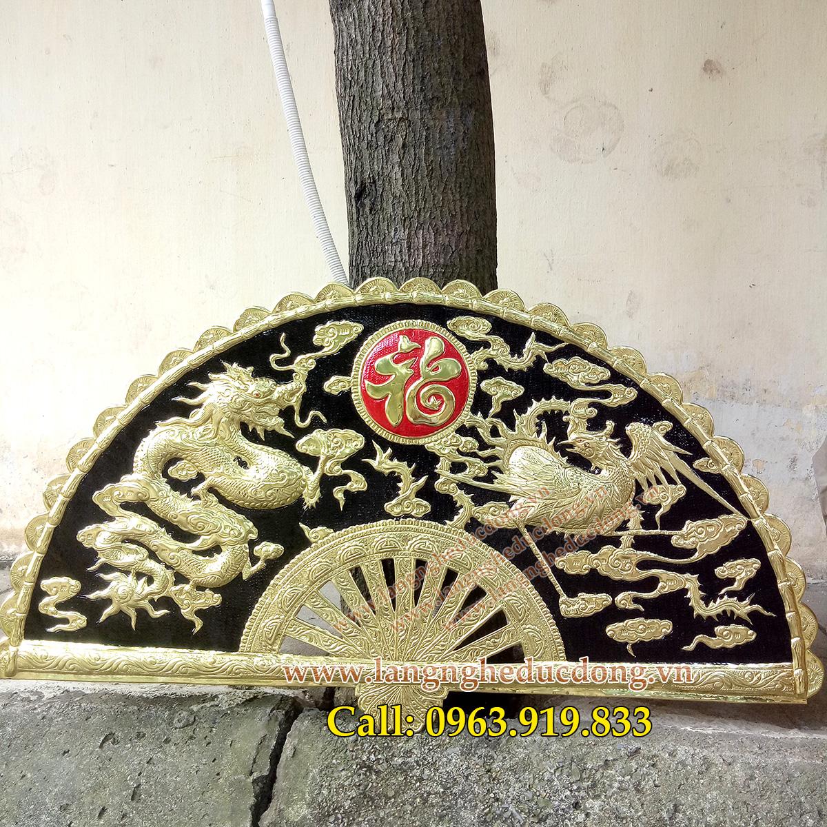 langngheducdong.vn - tranh đồng, quạt đồng, quạt song long bằng đồng