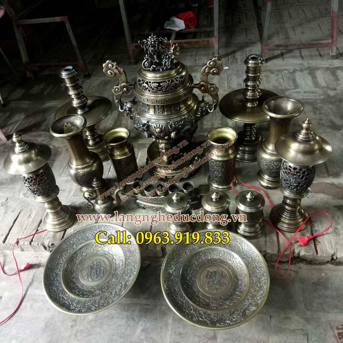 langngheducdong. vn - Bộ đồ thờ bằng đồng, đỉnh đồng lư hương, lọ hoa, mâm bồng