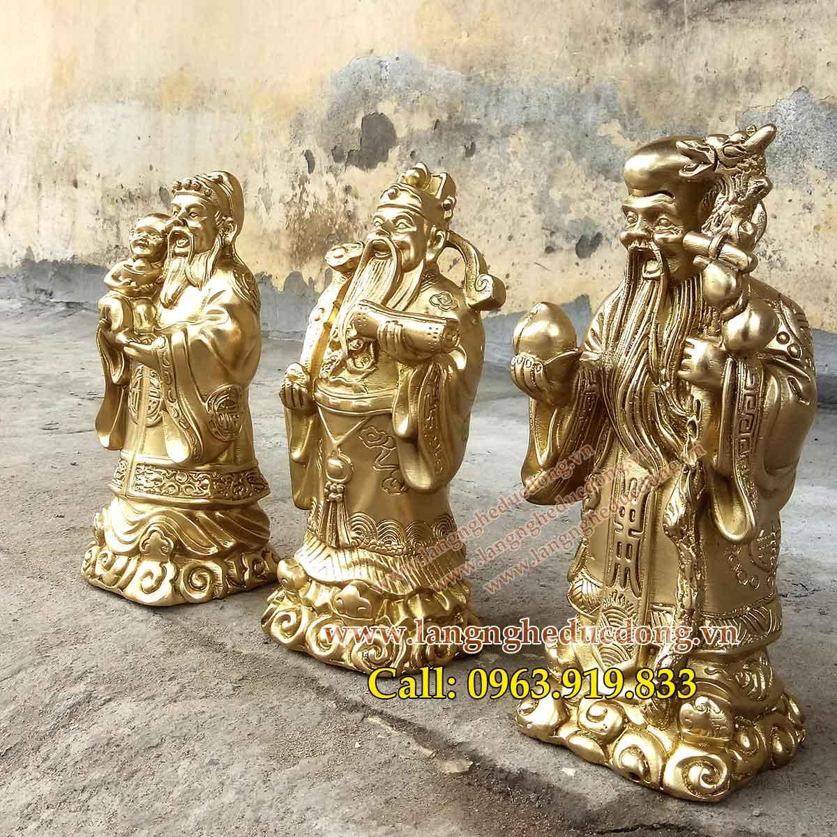 langngheducdong.vn - tượng đồng, tượng tam đa, bộ tượng tam đa bằng đồng vàng cao 23cm