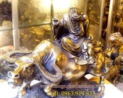 langnghedudong.vn - tượng đồng, tượng phong thủy, tượng lão tử cưỡi trâu, lão tử, lão tử bằng đồng