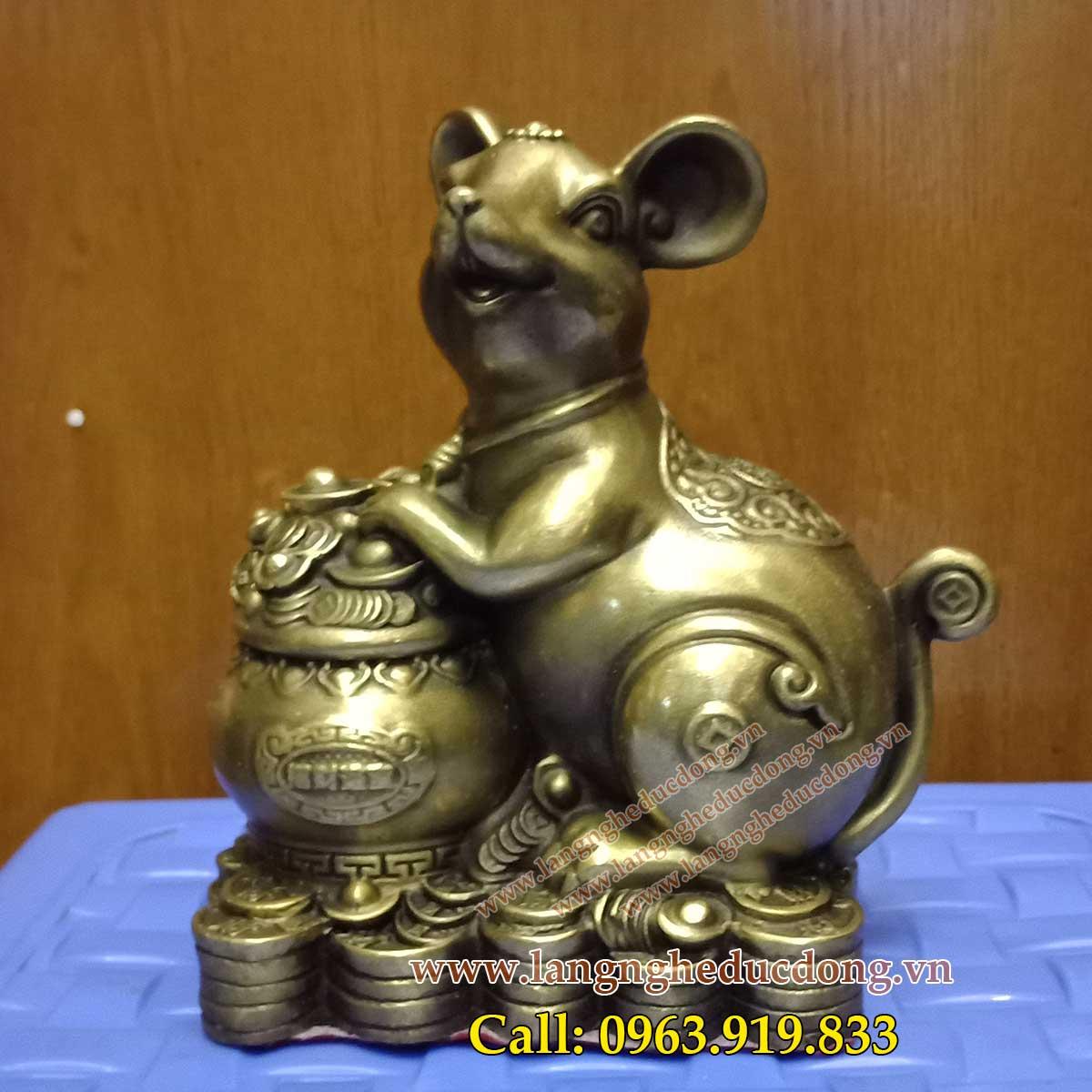chuột ôm hũ tiền vàng phong thủy, chuột phong thủy dành cho người tuổi Tý.