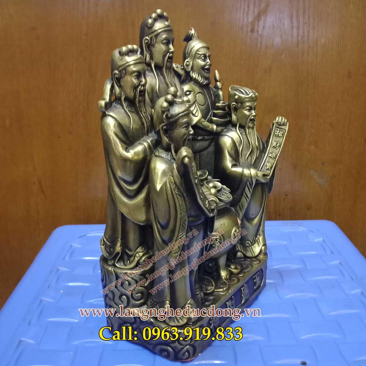 ngũ vị thần tài Lộc chất liệu bằng đồng cao 18 cm