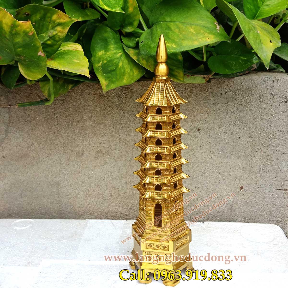 7 tầng cao 23cm bằng đồng, tháp văn xương bằng đồng